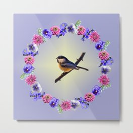 Chick-a-dee Flower Ring Metal Print