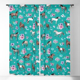 Horse Pattern, Floral Print, Turquoise, Little Girls Room, Horses Blackout Curtain