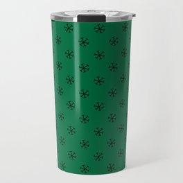 Black on Cadmium Green Snowflakes Travel Mug