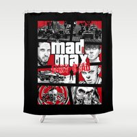 gta Shower Curtains featuring Mashup GTA Mad Max Fury Road by Akyanyme