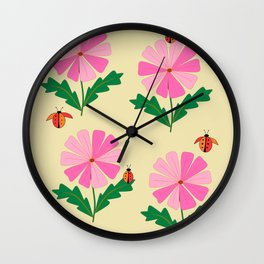 Spring Lady Bugs and Pink Flowers Wall Clock