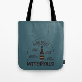 Notorious!, Alfred Htichcock, minimal movie poster, Cary Grant, Ingrid Bergman, classic cinema, film Tote Bag