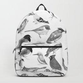 Black and white birds against white graphite artwork Backpack
