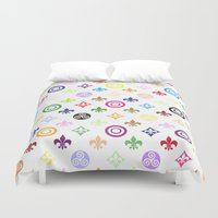 teen wolf Duvet Covers featuring Teen Wolf symbols pattern by Indy
