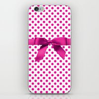 polkadot iPhone & iPod Skins featuring Pink Polkadot - Ribbon by albert Junior