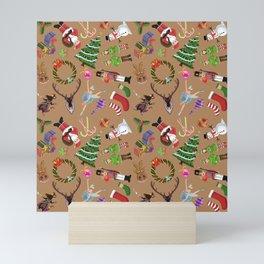 The Elements of Christmas (Pattern) (Light Brown) Mini Art Print