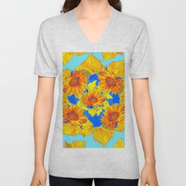 Turquoise-gold Sunflowers Leaves Pattern Abstract Unisex V-Neck