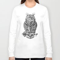bioworkz Long Sleeve T-shirts featuring Great Horned Owl by BIOWORKZ