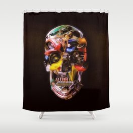 Hot Rod Skull Dark Shower Curtain
