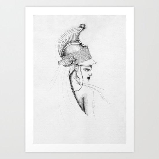 Girl & Helmet Art Print