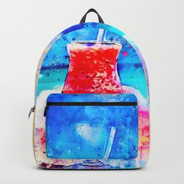 sex on the beach cocktail cool summer splatter watercolor Backpack