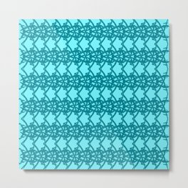 Braided openwork pattern of wire and blue arrows on a light blue background. Metal Print
