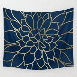 Floral Prints, Line Art, Navy Blue and Gold Wall Tapestry