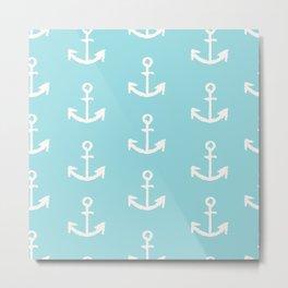 Anchor - mint blue Metal Print