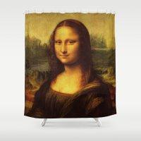 da vinci Shower Curtains featuring Leonardo Da Vinci Mona Lisa Painting by Art Gallery