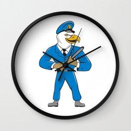 Bald Eagle Policeman Baton Cartoon Wall Clock