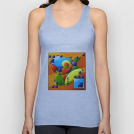 Fantisimella - colourful birdy abstract Unisex Tank Top