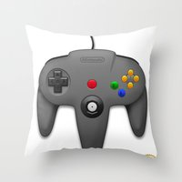 nintendo Throw Pillows featuring Nintendo 64 by S3NTRYdesigns