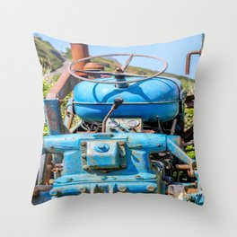 Port Gaverne - Old Blue Tractor Throw Pillow