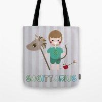 sagittarius Tote Bags featuring Sagittarius by Esther Ilustra