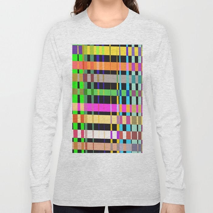 inclined coloured stripes Long Sleeve T-shirt