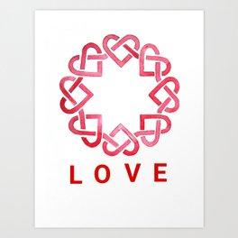 Celtic Hearts, Love - Watercolor Art Print