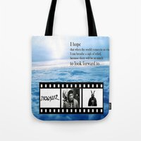 donnie darko Tote Bags featuring Donnie Darko by Arianna Bears