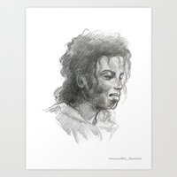 mike wrobel Art Prints featuring Mike by QIQI DRAWS
