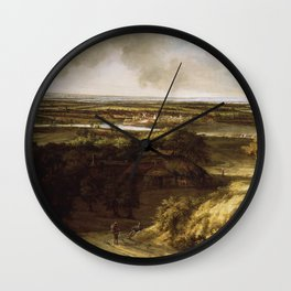 Panorama Plain Fields Vintage Painting Wall Clock