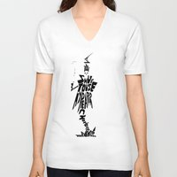 soul eater V-neck T-shirts featuring lord death soul eater by Rebecca McGoran