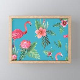 Pink Flamingo Tropical garden paradise Framed Mini Art Print