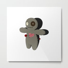 Voodoo doll. Cartoon horror elements. Spooky fear trick or treat Metal Print