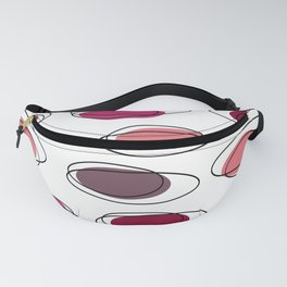 Mid Century Modern Ovals Scribbles Pink Fanny Pack