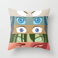 zuko Throw Pillows featuring Team Avatar by Kazuma Shimizu