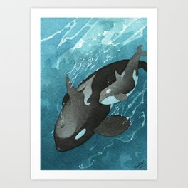 Mother & Baby Orca Art Print