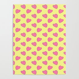 Pink hearts on a yellow background. Romantic and love pattern. For mother day. For valentine's day. For textiles, cards, wallpapers and backgrounds.  Poster
