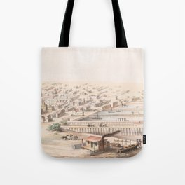 Vintage Pictorial Map of Galveston TX (1855) Tote Bag