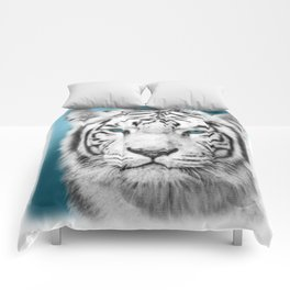 Blue Eyed White Tiger Comforters