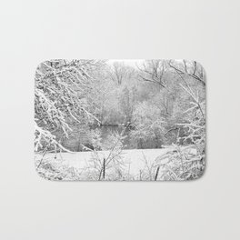 Winter Snow At Huron River Bath Mat