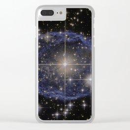 Blue Bubble Nebula Clear iPhone Case