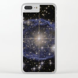 Blue Bubble Nebula Clear iPhone Case