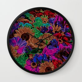 Neon Flowers in the Dark 2 Wall Clock
