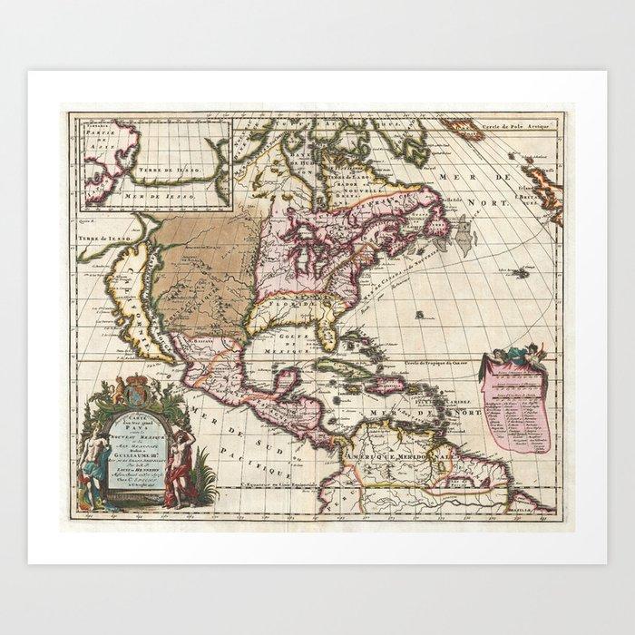California As An Island 1698 Vintage Map Art Print By Fineearthprints