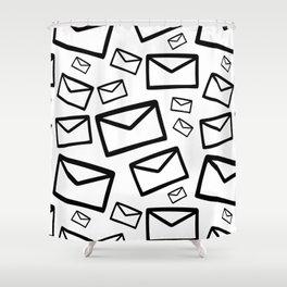 Black&white envelopes everywhere Shower Curtain