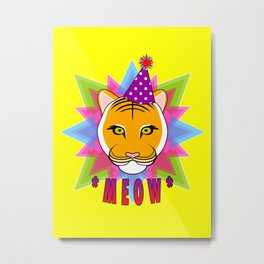 Serious Tiger Cat in Fabulous Party Hat Metal Print