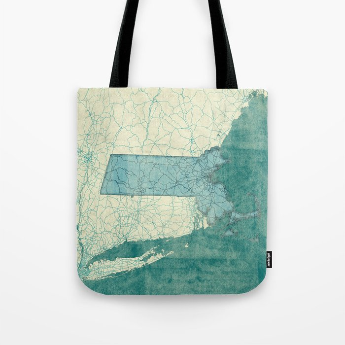 Massachusetts State Map Blue Vintage Tote Bag