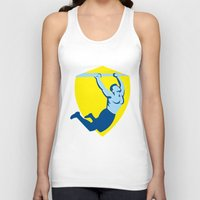 crossfit Tank Tops featuring Crossfit Pull Up Bar Shield Retro by patrimonio