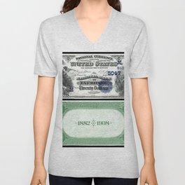 1882 Issue U.S. Federal Reserve Twenty Dollar Battle of Lexington Bank Note Unisex V-Neck