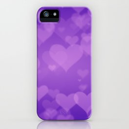 Soft Purple Hearts On Graduated Background. Valentines Day Concept iPhone Case