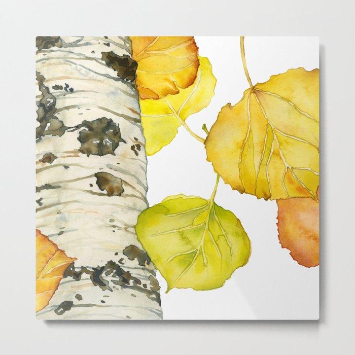 Falling Aspen Leaves Metal Print
